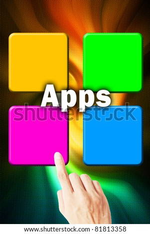 The hand press button download the application - stock photo