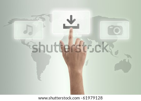 The hand presses download button
