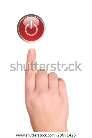 The hand presses red button isolated on white
