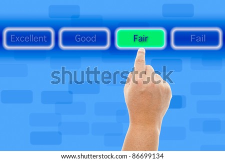 The hand push fair button