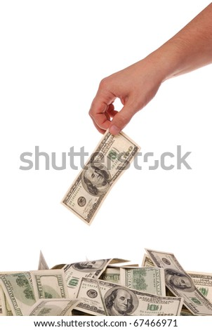 The hand throws hundred dollars. On white background.