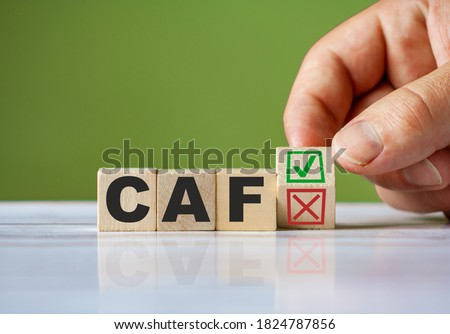 The hand turn wooden block with red reject X and green confirm tick as change concept of CAF. Word CAF conceptual symbol. Photo stock ©