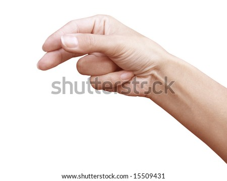 The hand which holds something flat