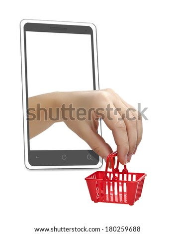 The hand with the grocery cart in a mobile phone. Trade via the Internet.