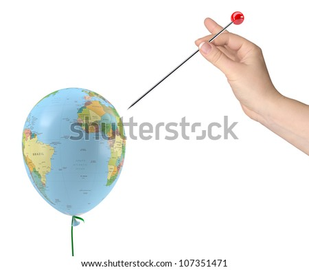 The hand with the needle aimed at the balloon with the texture of the planet earth. Isolated on white background