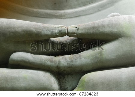 The Hands of Limestone Buddhist state in Wat Pha Sawang Boon Nakornayok Thailand