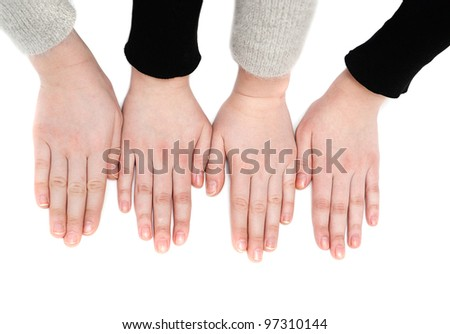 The hands of two girls