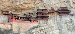 The Hanging Temple or Hanging Monastery near Datong in Shanxi Province, China. The Hanging Temple is a major tourist sight near Datong.