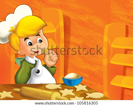 The happy, little kid playing chief and making some food