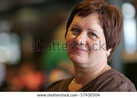 stock photo the happy mature woman poses in a cafe 57430504 Amateur, Latin/Indian Teen, Blonde Teens, Dark Hair, Dating Sites Content