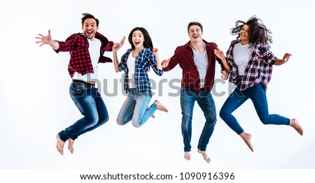 The happy people jumping on the white background #1090916396