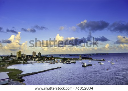 The harbor at Colon, Panama with the city in the background