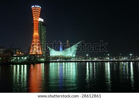 The harbor of Kobe in Japan,night scenic.