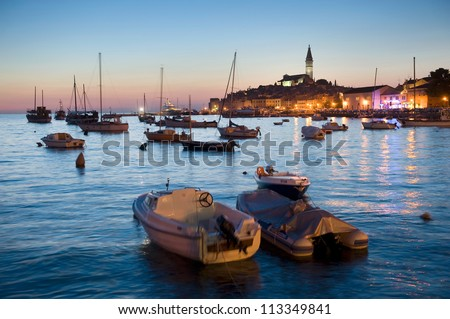 The harbor of Rovinj in Croatia after sunset