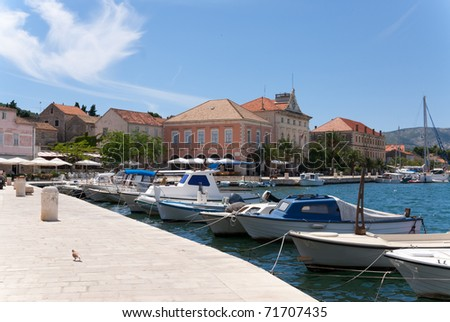 the harbor of the croatian city of stari grad