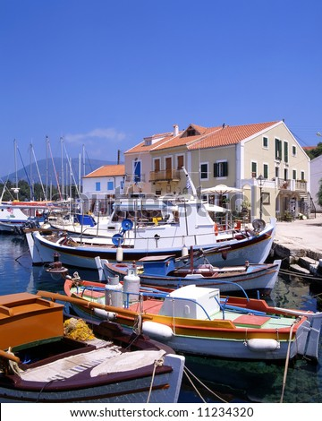 The harbour at Fiskardo on the greek island of Kefalonia