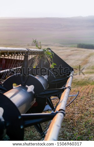 The harvest in the fields with harvester. Big harvester collects graine harvest on the field in autumn. #1506960317