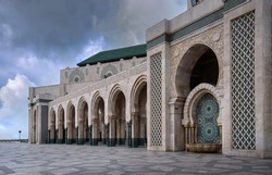 The Hassan II Mosque at day in Casablanca, Morocco. The largest mosque in Morocco and one of the most beautiful in Africa. the 13th largest in the world.