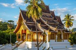 The Haw Pha Bang Temple or Royal Palace of Luang Prabang at Luang Prabang National museum with blue sky, Luang Prabang, Laos
