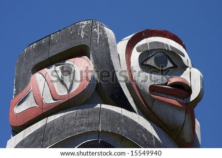 Hawk Totem Pole Top of a Haida Totem Pole