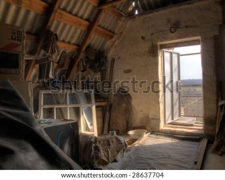 The HDR image of the attic in the old village house
