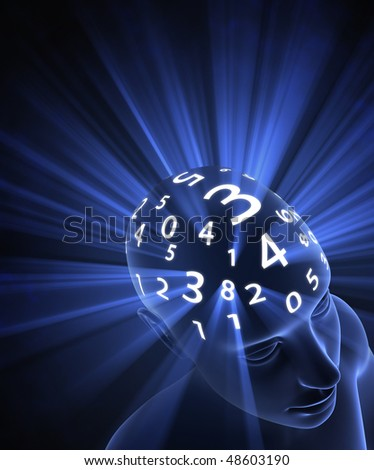 The head is thinking in numbers. The light represents the energy, the power of mind in the processing.