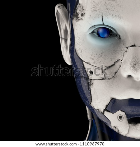The head of a cyborg on a black background. 3d illustration. Stock foto ©