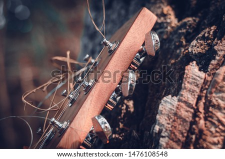The head of the neck of a six-string guitar with metal pegs and strings in warm sunlight. Macro. Eye level shooting. Soft focus.