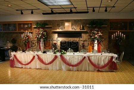 stock photo The head table at the reception of a wedding wedding head table