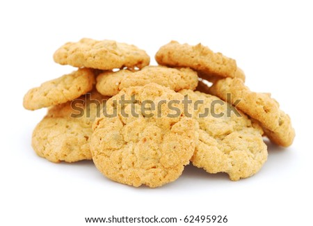 The heap of cookies isolated on white background