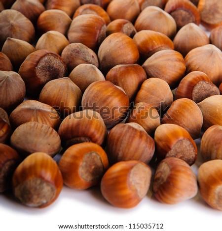 The heap of hazelnuts close-up