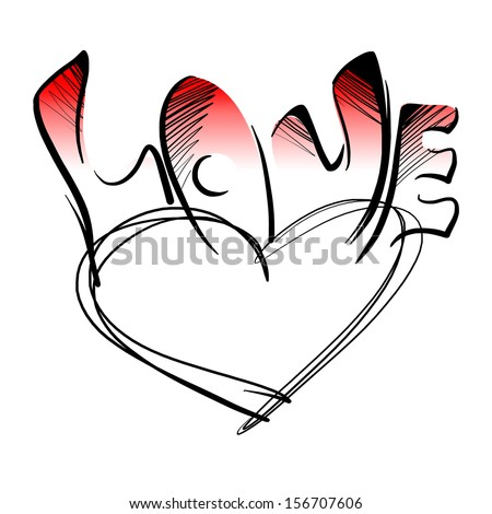 The Heart And The Word Love Drawn With Black Ink On An White