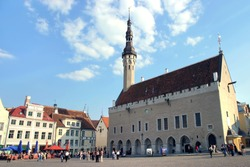 the heart of Tallinn in Old Town with city hall