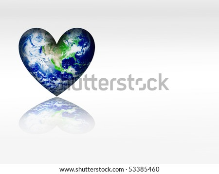 The heart of the earth with shadow over white background - stock photo