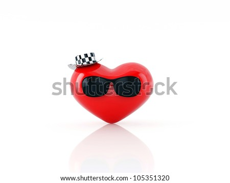 the heart of the glasses and hat