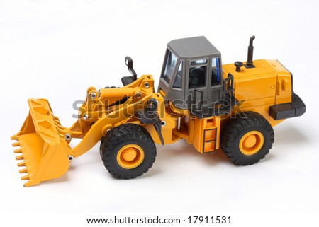 The heavy building bulldozer of yellow color on a white background #17911531
