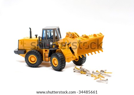 The heavy building bulldozer of yellow color on a white background