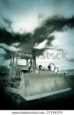 the heavy duty with the clouds background outdoor.