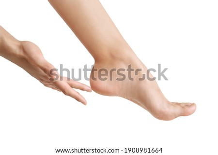 the heel of a woman's foot close-up. take care of your feet, well-groomed beautiful foot. the concept of a pedicure and healthy feet