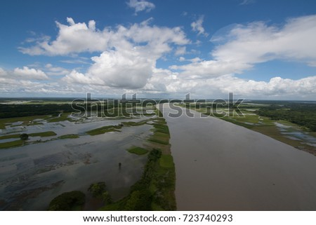 The helicopter shot from Dhaka, Bangladesh with blue sky