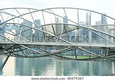 The Helix Bridge , previously known as the Double Helix Bridge , is a pedestrian bridge linking Marina Centre with Marina South in the Marina Bay area in Singapore