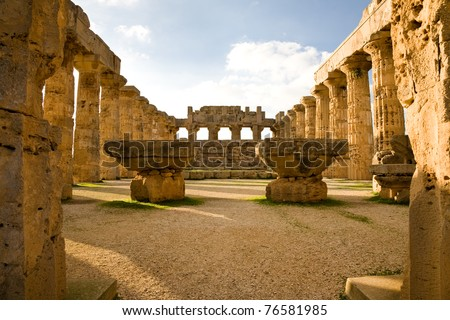 The Hellenic temple of Hera, also known as Temple E, at Selinunte in Sicily in Southern Italy