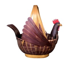 The hen is made from bamboo White background. Used for the input of desired.Give as a gift in different festivals.