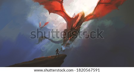The heroic warrior bravely faced the dragon, digital painting. Photo stock ©