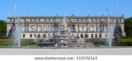 The Herrenchiemsee Palace (New Palace) is the most famous castle and the largest of King Ludwig II of Bavaria's palaces. Buildings inspired by the Palace of Versailles. Bavaria, Germany.