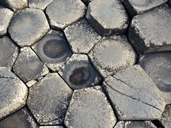 The hexagonal rocks of the Giant's Causeway.
