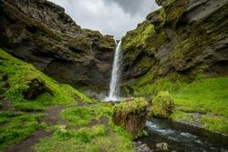 The hidden gem of Kvernufoss waterfall near Skogafoss in Iceland