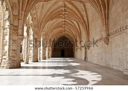 The Hieronymites Monastery (Mosteiro dos Jerónimos), located in the Belem district of Lisbon, Portugal. Typical example of the Manueline style (Portuguese late-Gothic). UNESCO  World Heritage Site.