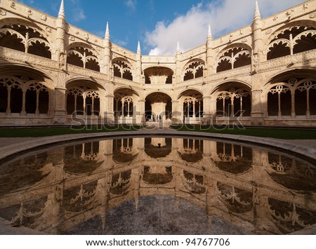The Hieronymites Monastery (Mosteiro dos Jeronimos), located in the Belem district of Lisbon, Portugal. Typical example of the Manueline style (Portuguese late-Gothic). UNESCO World Heritage Site.