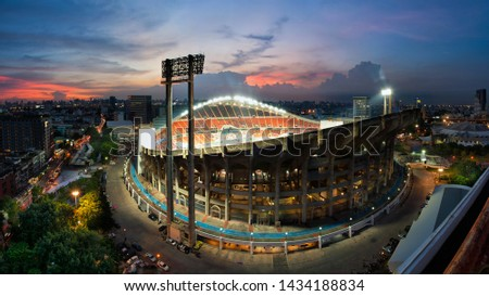 The high angle of the stadium at the time of the Twilight Light with the opening of the stadium lights